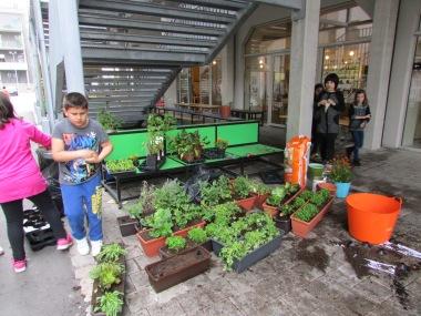 Bepflanzungsaktion mit Hortkindern